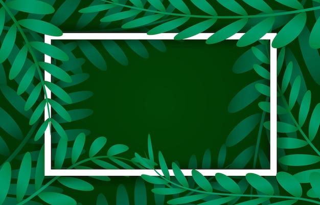 Bladeren frame, wit frame op de achtergrond met vegetatie. vector illustratie