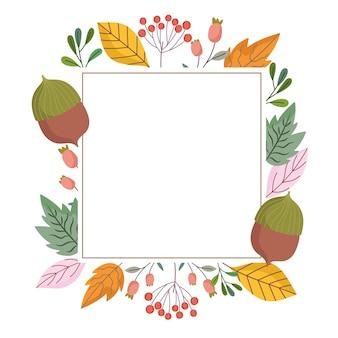 Bladeren gebladerte natuur eikel tak natuur decoratie frame illustratie