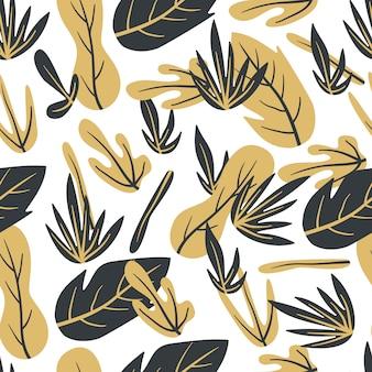 Bladeren gouden abstract hand getrokken naadloos patroon