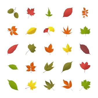 Bladeren in de herfst plat pictogrammen