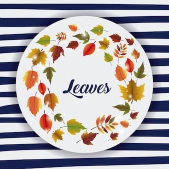 Bladeren pictogram. herfst seizoen bloementuin en natuur thema. kleurrijk ontwerp. gestreepte achtergrond. vect