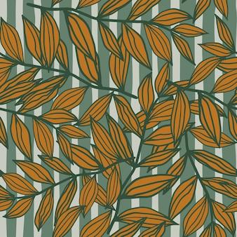 Bladeren schetsen vormen herfst willekeurig naadloos patroon. blauwe gestripte achtergrond met oranje gebladerteelementen.