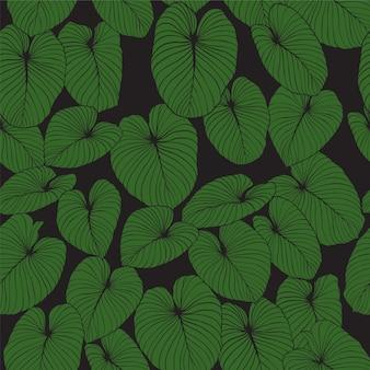 Bladeren vector naadloze patroonachtergrond voor ontwerp