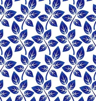 Bladerenpatroon, blauw en wit ceramisch naadloos ontwerp, porseleinachtergrond, vectorillus