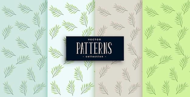Bladerenpatroon in vier kleuren