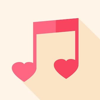 Bladmuziek in hartvorm. plat gestileerd object met lange schaduw