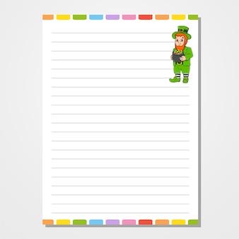 Bladsjabloon voor notebook, kladblok, dagboek. lijntjes papier.
