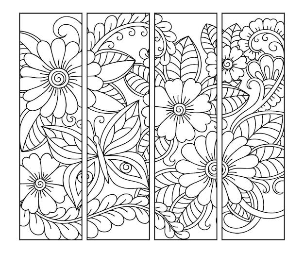 Bladwijzer. set van zwart-wit bloemen doodle, hand tekenen in mehndi stijl.