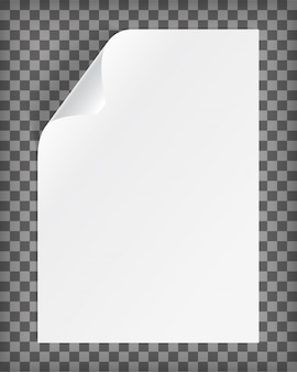 Blanco a4-vel papier met gekrulde hoek