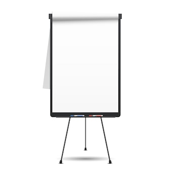 Blanco flip-over. whiteboard en leeg papier, presentatie en seminar,