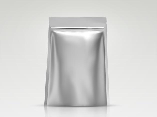 Blanco foliezak, zilveren verpakking voor gebruik in afbeelding
