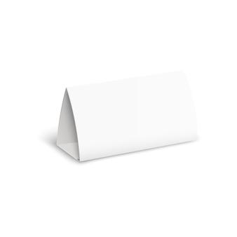 Blanco geïsoleerde papierstandaard met realistische schaduw voor advertentiesjabloon, kalender of naamplaatje. vector illustratie