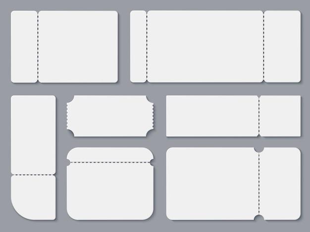Blanco kaartjes. wit theater en bioscoopkaartjesmodel.