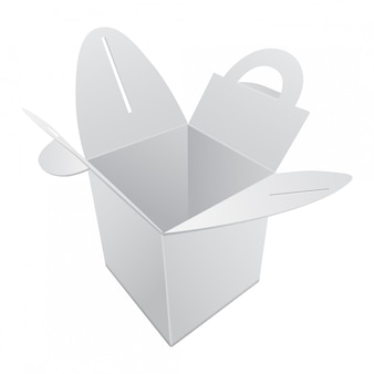 Blanco kraftpapier geschenkdoos. witte container met handvat. geschenkdoos sjabloon, kartonnen pakket