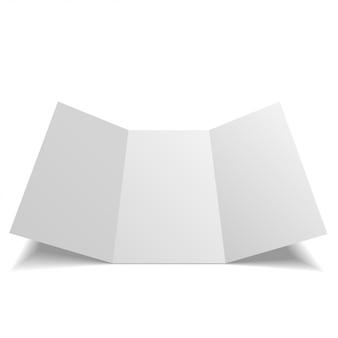 Blanco mock-up driebladige papieren bijsluiter, flyer, broadsheet