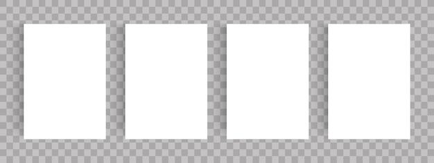 Blanco pagina's ingesteld, leeg papier a4-blad, vectorillustratie