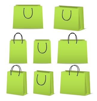 Blanco papier boodschappentassen set geïsoleerd op wit