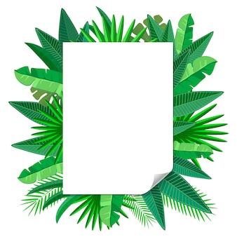Blanco papier frame met tropische bladeren