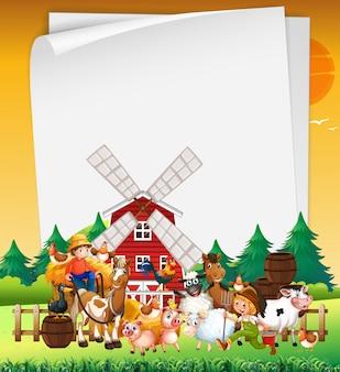 Blanco papier in de natuur met dierenboerderij