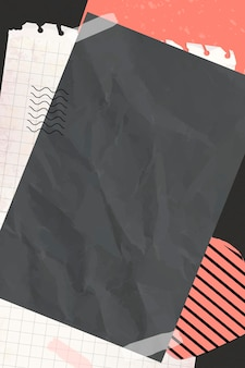 Blanco papier op een collageachtergrond