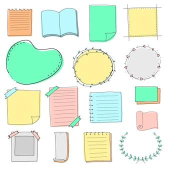 Blanco papier rand en frame doodle set