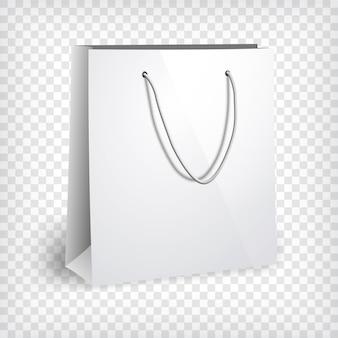 Blanco papieren zak sjabloon. boodschappentas, fotorealistische sjabloon.