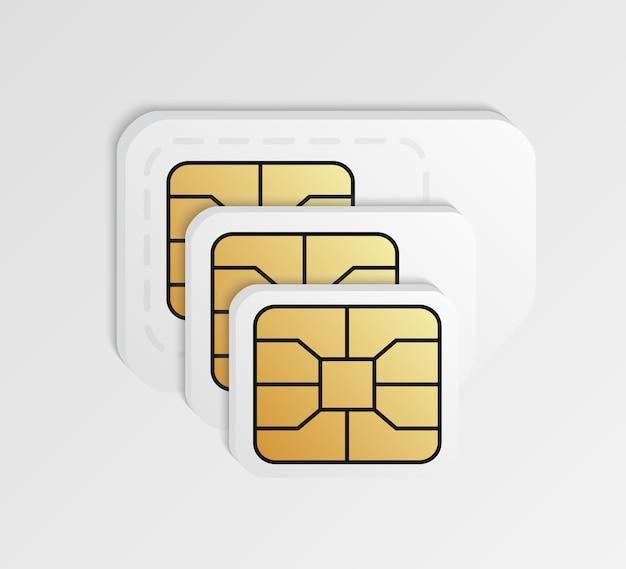 Blanco simkaarten in verschillende formaten.