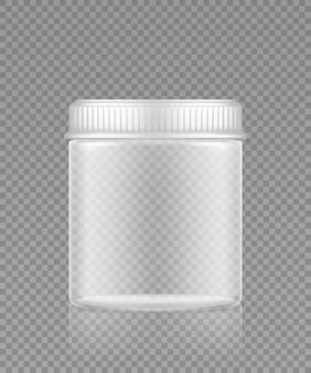 Blanco sport-, huishoud- of dieetvoeding, gezondheidszorg, sjabloon voor cosmetische flessen