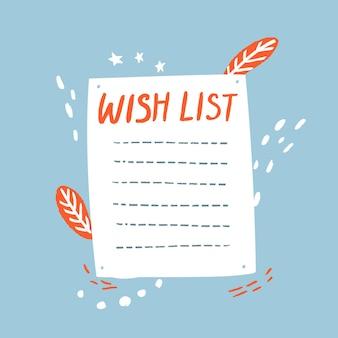 Blanco verlanglijstsjabloon bekleed vel papier op blauwe achtergrond met oranje doodles
