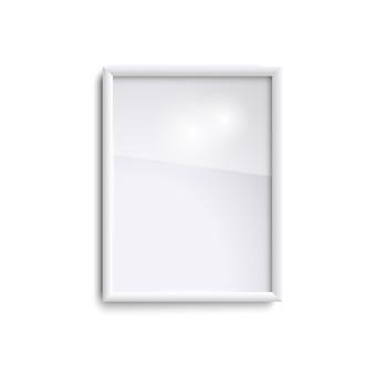 Blanco verticale fotolijst met glas, realistische witte verticale fotolijst, a4. lege witte afbeeldingsframe.