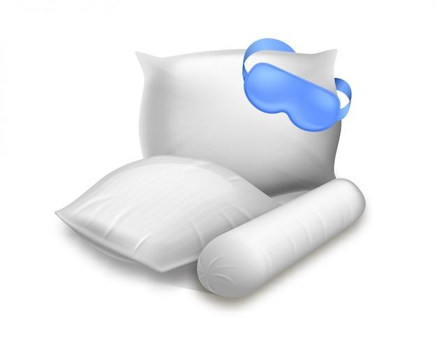 Blanco vierkant, cilinder en rechthoekige kussens