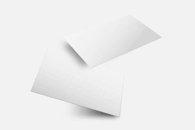 Blanco visitekaartje mockup vector in witte toon met voor- en achteraanzicht