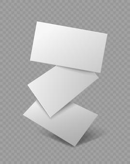 Blanco visitekaartje. vallende realistische branding-kaarten, reclame voor presentatie