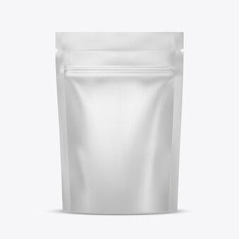 Blanco voedsel opstaan flexibel zakje snack zakje zak met ritssluiting. pakket . sjabloon voor. realistische illustratie geïsoleerd op een witte achtergrond