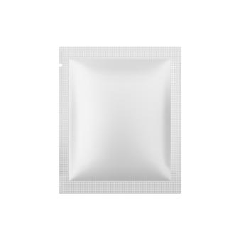 Blanco, wit metallic sachetverpakking. folie pakket. pouch snack sjabloon. realistische illustratie geïsoleerd op een witte achtergrond