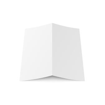 Blanco wit tweevoudig boekje geopend