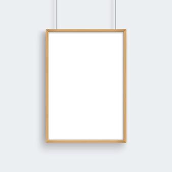 Blank houten frame opknoping