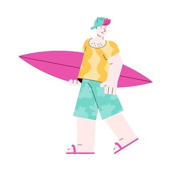 Blanke jonge man surfer met surfplank, schets illustratie geïsoleerd.