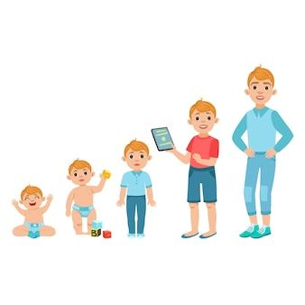 Blanke jongen groeiende stadia met illustraties in verschillende leeftijd