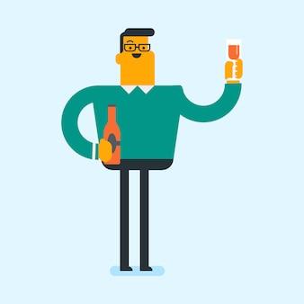 Blanke man drinken een cocktail in de bar.