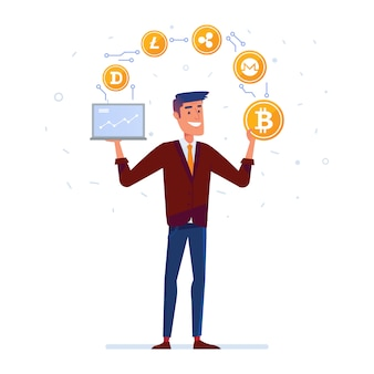 Blanke man jongleert met crypto valuta munten