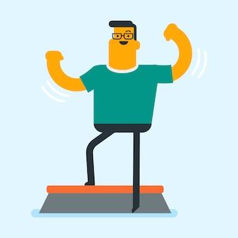 Blanke man training op een stepper in de sportschool.