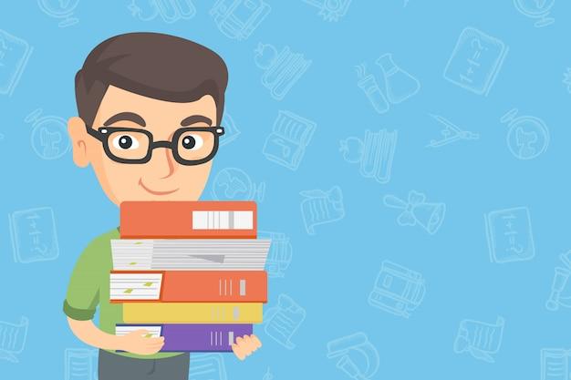 Blanke school kind bedrijf stapel boeken.