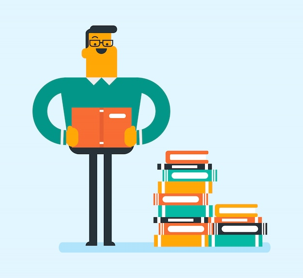 Blanke student zit in een enorme stapel boeken.