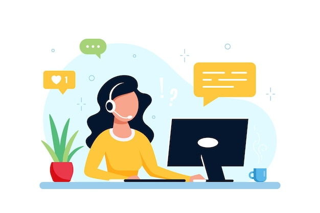 Blanke vrouw met met laptop en koptelefoon met microfoon. technische ondersteuning, assistentie, callcenter en klantenserviceconcept. vlakke stijl vectorillustratie