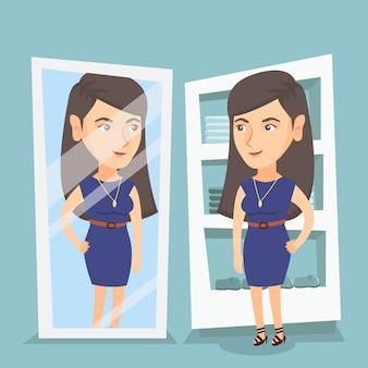 Blanke vrouw probeert op jurk in kleedkamer.