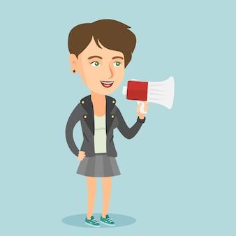 Blanke vrouw promotor spreken in luidspreker