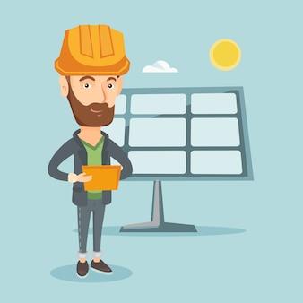 Blanke werknemer van zonne-energiecentrale.