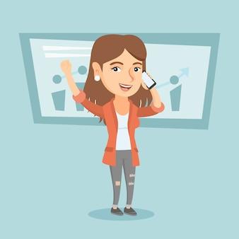 Blanke zakenvrouw praten op mobiele telefoon.