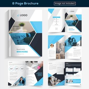Blauw 8 pagina's brochureontwerp voor het bedrijfsleven